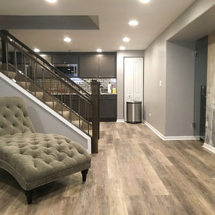 Example of a mid-sized trendy look-out vinyl floor basement design in Chicago with gray walls