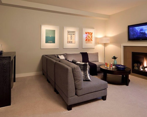 Mid Sized Transitional Underground Carpeted Basement Photo In Vancouver  With Gray Walls And A Standard