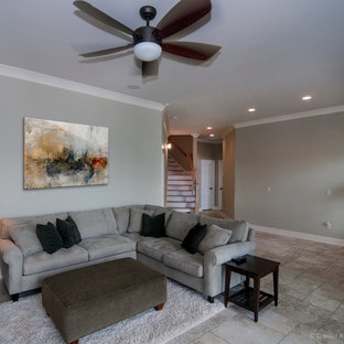 Example of a large arts and crafts walk-out basement design in Nashville with gray walls