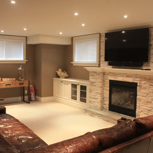 Example of a trendy basement design in Toronto