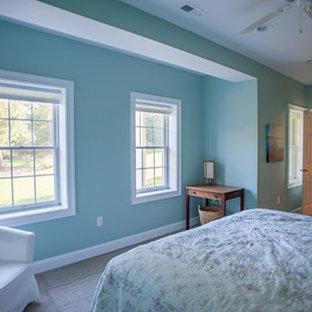 Ispirazione per una taverna con pareti blu e pavimento in gres porcellanato