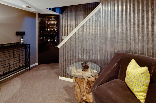Eclectic Basement by Dwelling Designs