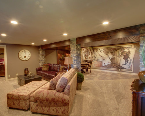 Farmhouse omaha basement design ideas pictures remodel for Country basement ideas