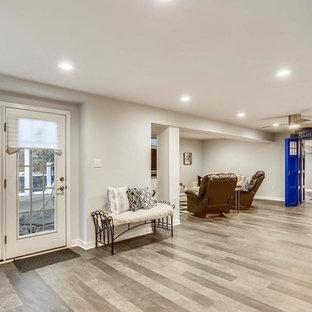 Idée de décoration pour un grand sous-sol tradition donnant sur l'extérieur avec un mur gris et un sol en vinyl.