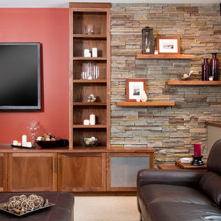 Basement - craftsman look-out carpeted basement idea in Minneapolis with red walls