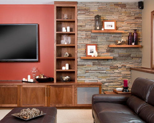 photos et id es d co de sous sols avec un mur rouge. Black Bedroom Furniture Sets. Home Design Ideas
