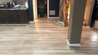 Basement Remodel with Concrete Wood Flooring