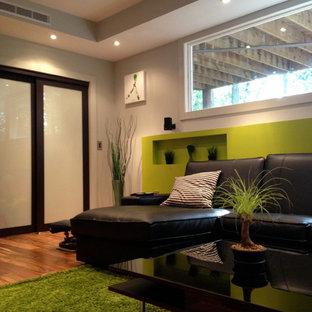 Cette photo montre un sous-sol tendance avec un mur vert, un sol en bois brun, une cheminée ribbon et un sol orange.