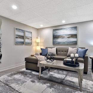 Idées déco pour un sous-sol contemporain de taille moyenne et enterré avec un mur gris, un sol en vinyl, une cheminée standard, un manteau de cheminée en plâtre et un sol gris.