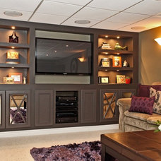 Modern Basement by Claire Jefford at Creating Contrast Designs