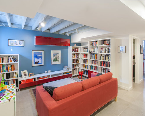 exposed basement ceiling. Example of a mid sized trendy look out basement design in DC Metro with Exposed Basement Ceiling  Houzz