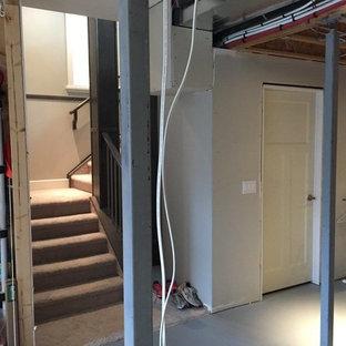 Idée de décoration pour un sous-sol style shabby chic.