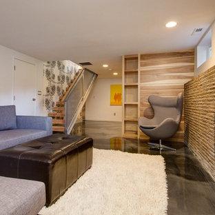 Идея дизайна: подвал в современном стиле с бетонным полом, стандартным камином, фасадом камина из камня, наружными окнами и белыми стенами