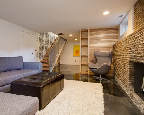 Trendy Look Out Concrete Floor Basement Photo In Seattle With A Standard Fireplace