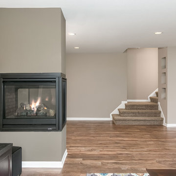 Basement Stairs and Gas Fireplace