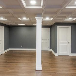 Réalisation d'un sous-sol tradition enterré et de taille moyenne avec un mur bleu, un sol en vinyl, aucune cheminée et un sol marron.