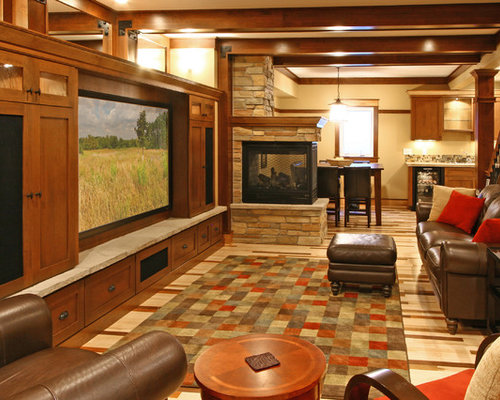 sided fireplace basement design ideas pictures remodel decor