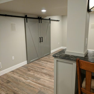 Mid-sized transitional look-out porcelain floor basement photo in Other with gray walls
