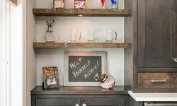 Basement Wood Bar Shelves