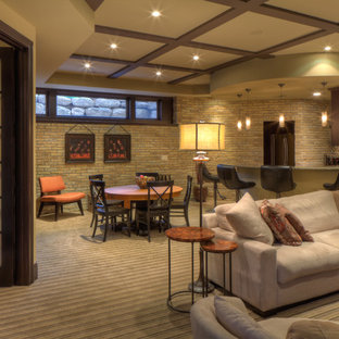 Example of a transitional beige floor basement design in Milwaukee