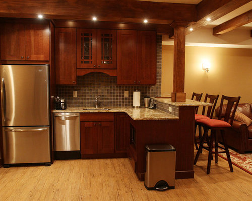 Basement kitchen bar houzz for Basement kitchenette with bar