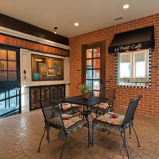 Mediterranean walk-out basement in Salt Lake City with brown walls, no fireplace and brown floors.