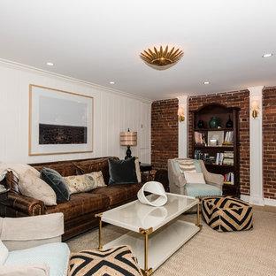 Inspiration pour un sous-sol traditionnel enterré et de taille moyenne avec un mur blanc et un sol en carrelage de céramique.
