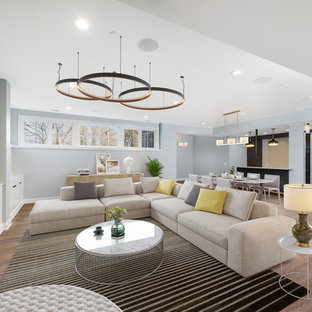 Inspiration for a large transitional look-out laminate floor and brown floor basement remodel in Chicago with gray walls and no fireplace