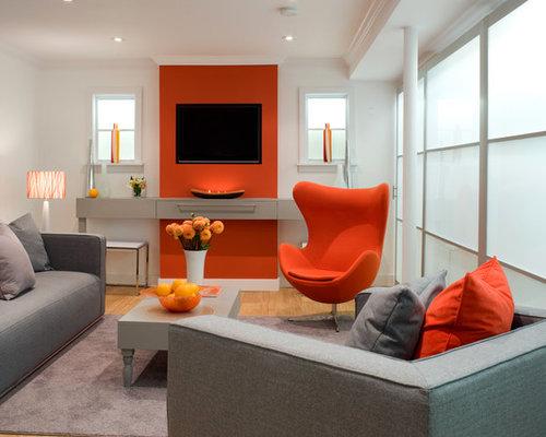 Basement Design Ideas Renovations Photos With Orange Walls
