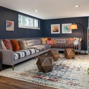 Inspiration pour un sous-sol traditionnel semi-enterré avec un mur bleu, aucune cheminée, un sol en vinyl et un sol marron.