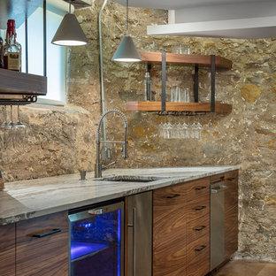 Basement - mid-sized rustic concrete floor and brown floor basement idea in Kansas City