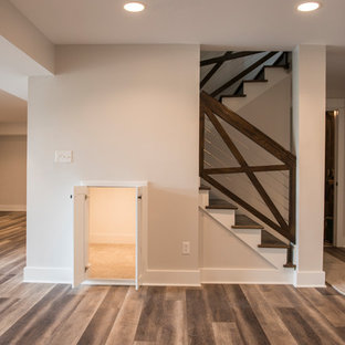 Cable railing with wood, and hidden kid playroom