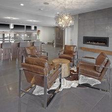 Contemporary Basement by Krogh Interiors Inc