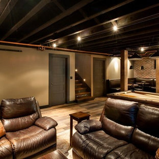 Basement   Mid Sized Rustic Underground Medium Tone Wood Floor And Brown  Floor Basement Idea