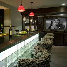 Eclectic Basement by Maria K. Bevill Interior Design