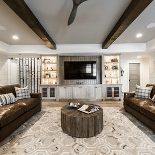 Inspiration For A Farmhouse Underground Basement Remodel In Atlanta With White Walls
