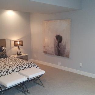 Inspiration pour un grand sous-sol traditionnel semi-enterré avec un mur bleu et moquette.