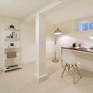 Cette image montre un grand sous-sol craftsman avec un mur blanc, moquette et un sol beige.