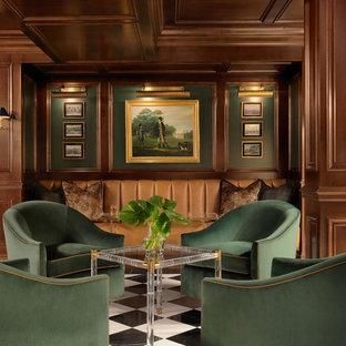 Idee per una taverna classica con nessun camino, pavimento multicolore e pareti verdi
