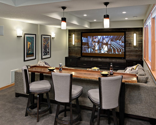 Designing A Basement Bar basement painting design basement Mid Sized Transitional Walk Out Carpeted Basement Photo In Minneapolis With Gray Walls
