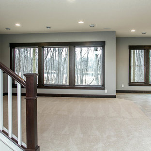 Example of a transitional walk-out ceramic floor basement design in Minneapolis with gray walls and no fireplace