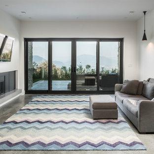 Aménagement d'un sous-sol contemporain donnant sur l'extérieur et de taille moyenne avec un mur blanc, béton au sol, une cheminée standard, un manteau de cheminée en métal et un sol gris.