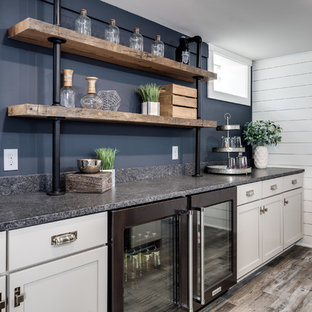 75 Beautiful Laminate Floor Basement With Blue Walls Pictures Ideas November 2020 Houzz