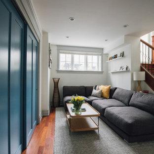 Inspiration pour un petit sous-sol design avec un mur blanc, un sol en bois foncé et un sol marron.