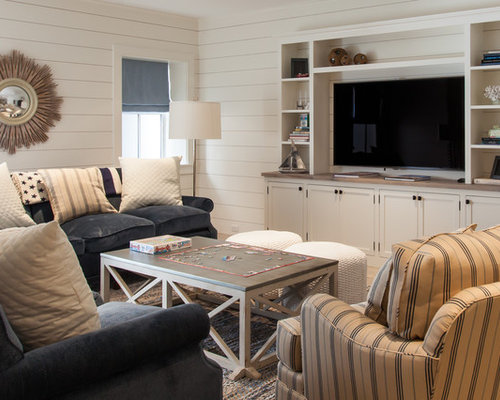 Example Of A Mid Sized Coastal Look Out Basement Design In Boston With White