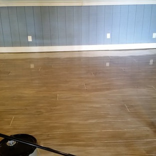Concrete Floor - Stained and Cut with a Hardwood Floor Pattern (Tiki Bar)