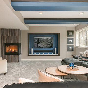 Contemporary Basement Home Theater & Fireplace