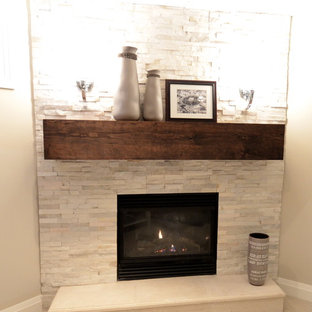 Inspiration For A Contemporary Bat Remodel In Toronto With Corner Fireplace