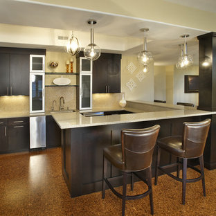 Inspiration for a contemporary cork floor basement remodel in Chicago