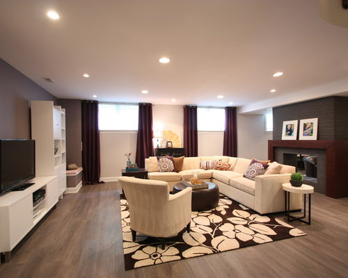 Inspiration For A Large Contemporary Look Out Medium Tone Wood Floor And  Brown Floor Basement Part 34